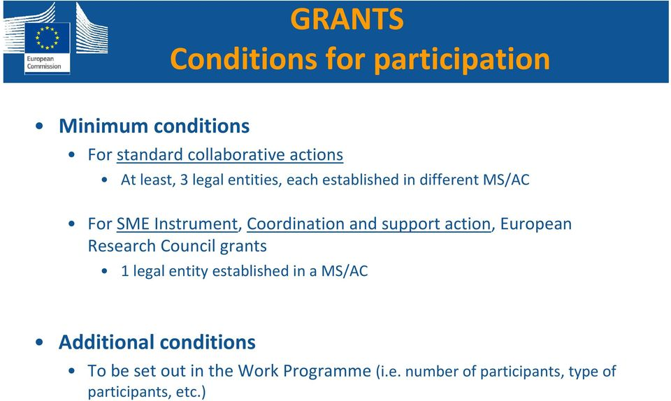 support action, European Research Council grants 1 legal entity established in a MS/AC Additional
