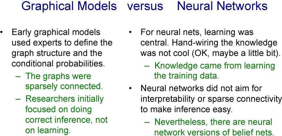 For neural nets, learning was central. Hand-wiring the knowledge was not cool (OK, maybe a little bit).