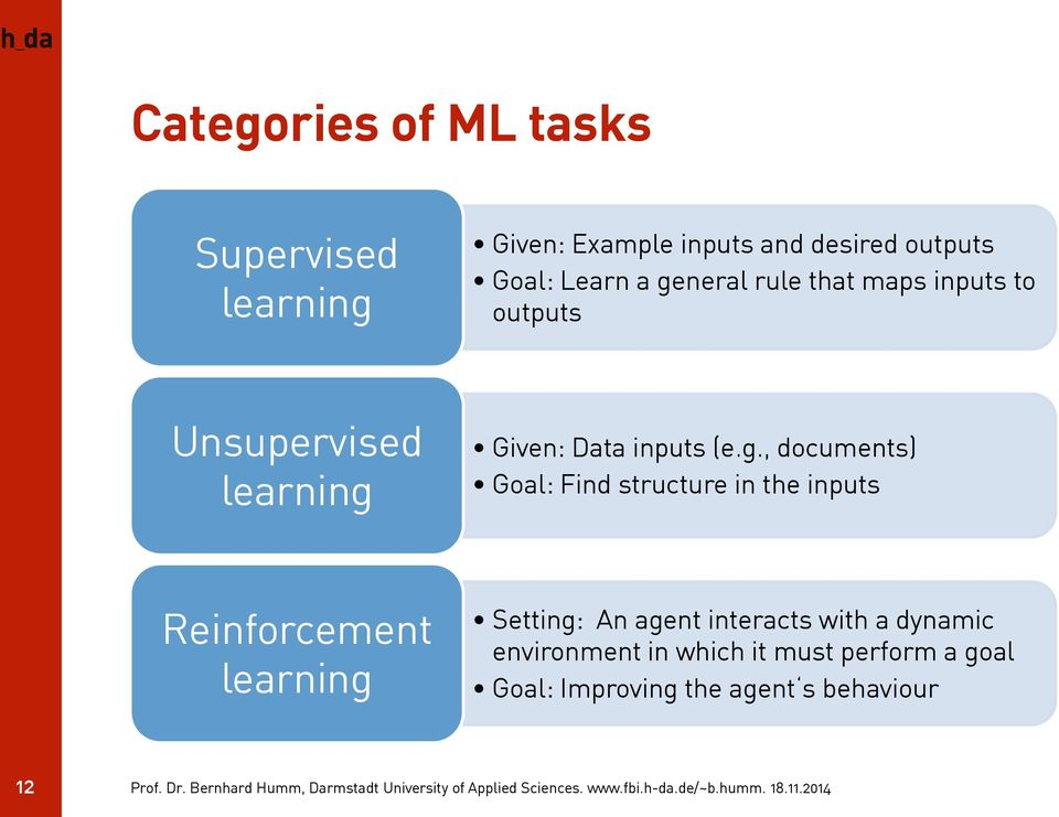 neral rule that maps inputs to outputs Unsupervised learning