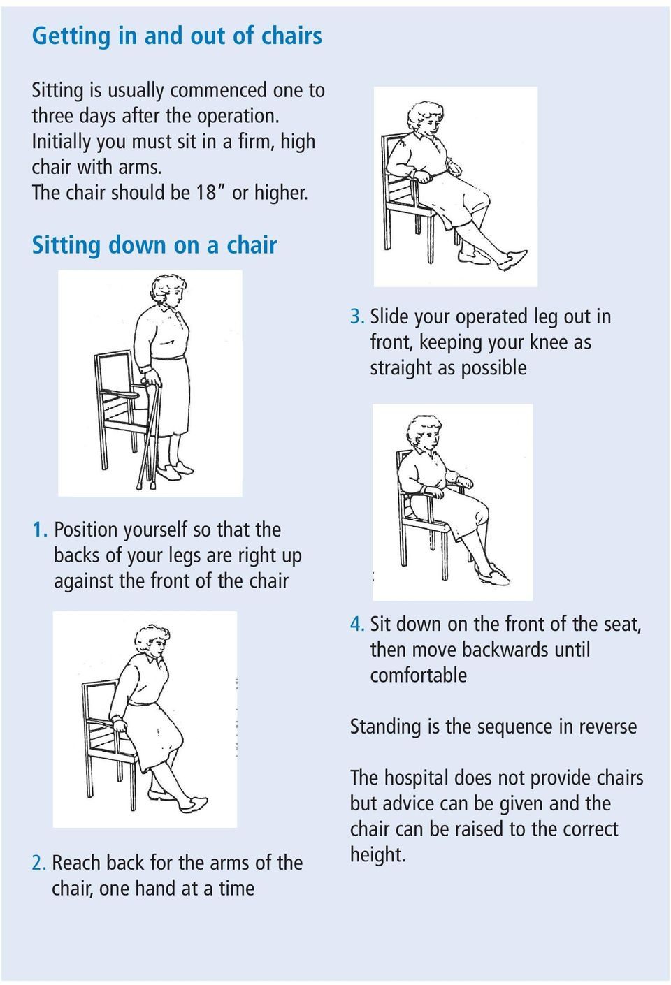 Position yourself so that the backs of your legs are right up against the front of the chair 4.