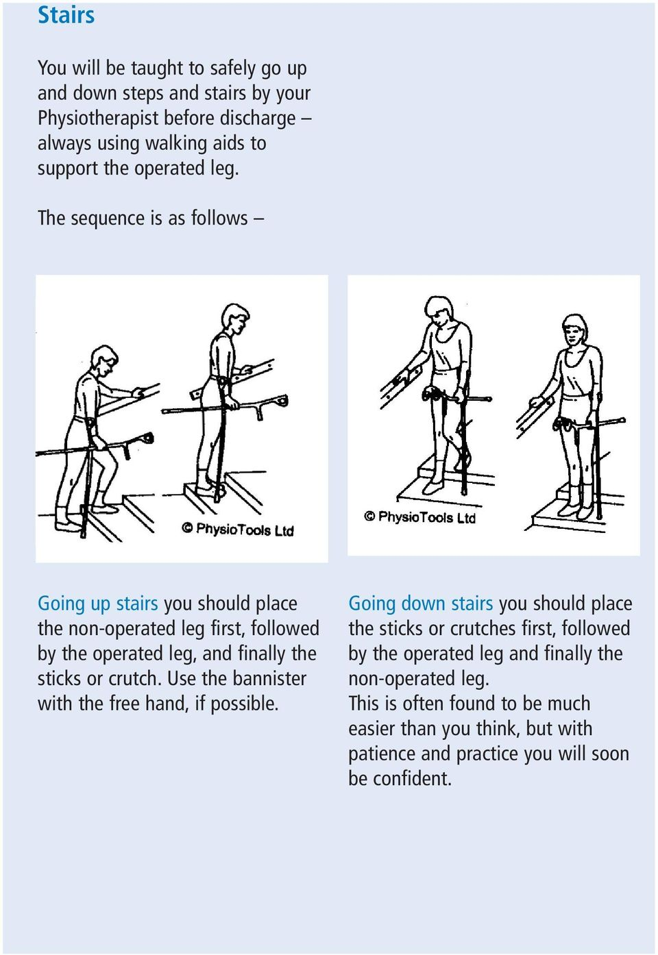 The sequence is as follows Going up stairs you should place the non-operated leg first, followed by the operated leg, and finally the sticks or crutch.