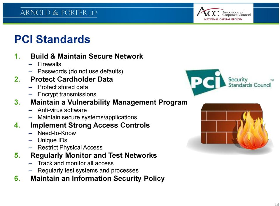 Maintain a Vulnerability Management Program Anti-virus software Maintain secure systems/applications 4.