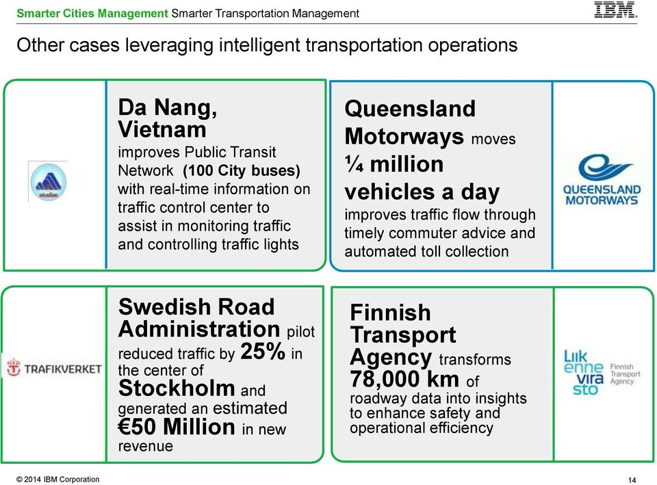 and generated an estimated 50 Million in new revenue Queensland Motorways moves ¼ million vehicles a day improves traffic flow through timely commuter advice and