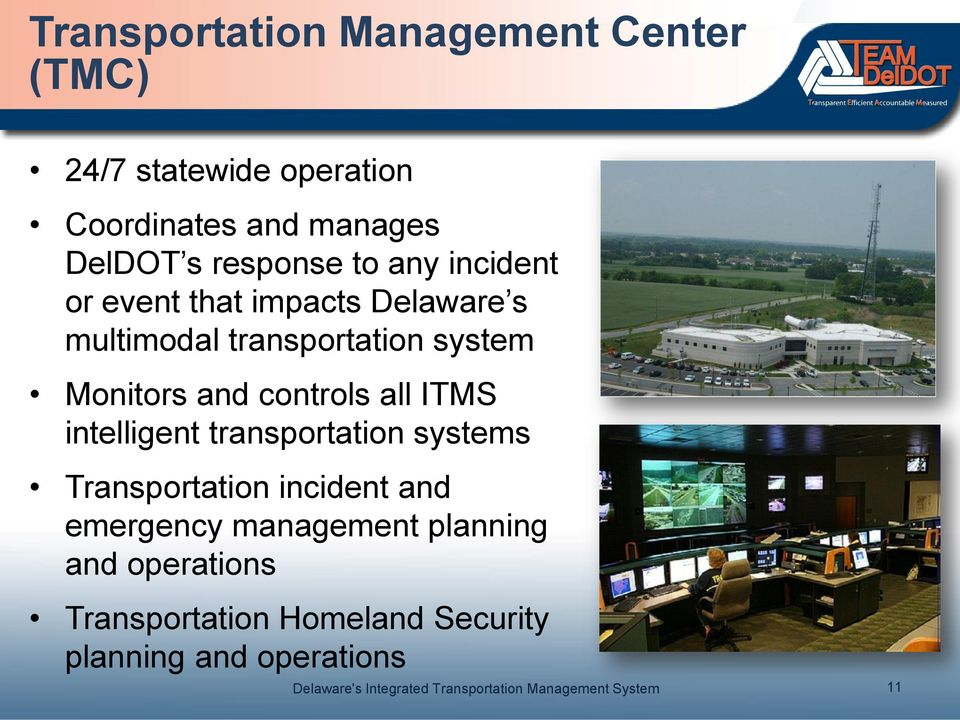 Monitors and controls all ITMS intelligent transportation systems Transportation incident and