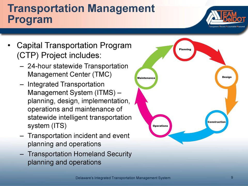 design, implementation, operations and maintenance of statewide intelligent transportation system (ITS)