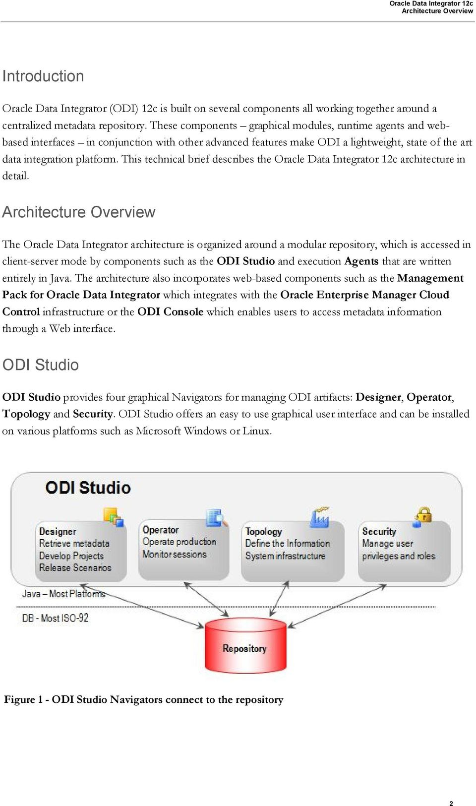 This technical brief describes the Oracle Data Integrator 12c architecture in detail.