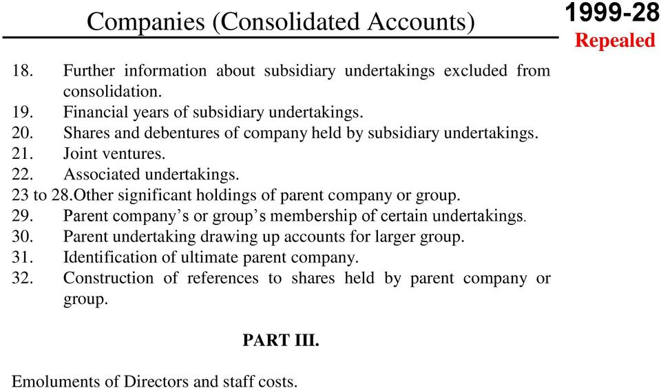 Other significant holdings of parent company or group. 29. Parent company s or group s membership of certain undertakings. 30.