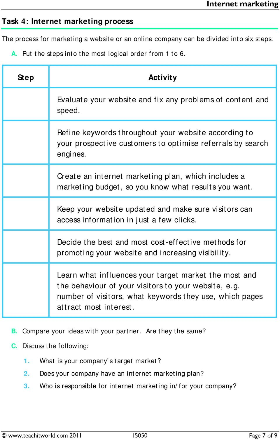 Create an internet marketing plan, which includes a marketing budget, so you know what results you want. Keep your website updated and make sure visitors can access information in just a few clicks.