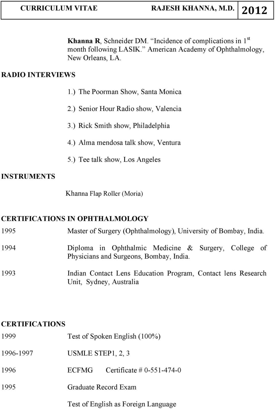 ) Tee talk show, Los Angeles Khanna Flap Roller (Moria) CERTIFICATIONS IN OPHTHALMOLOGY 1995 Master of Surgery (Ophthalmology), University of Bombay, India.