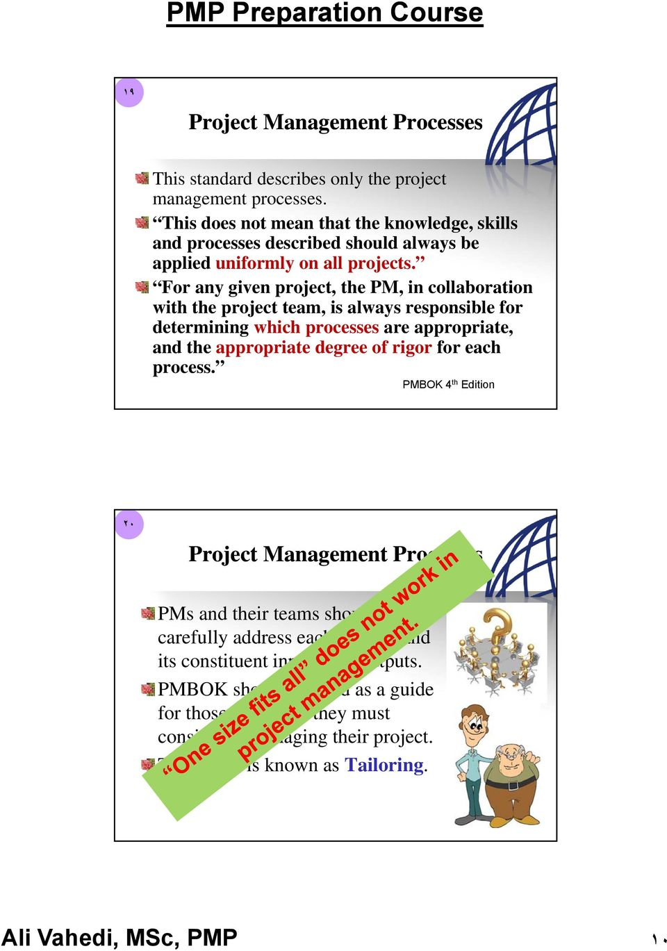 For any given project, the PM, in collaboration with the project team, is always responsible for determining which processes are appropriate, and the appropriate degree of rigor for