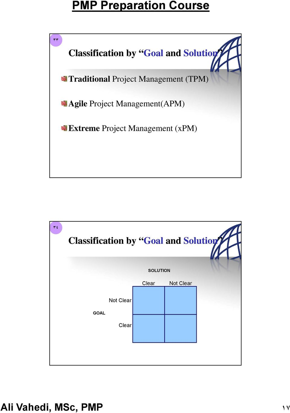 Extreme Project Management (xpm) ٣٤ Classification by