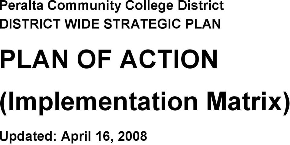 STRATEGIC PLAN PLAN OF ACTION