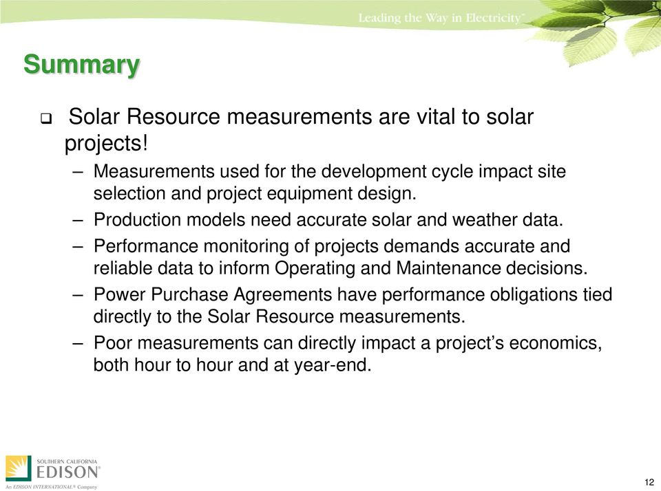 Production models need accurate solar and weather data.