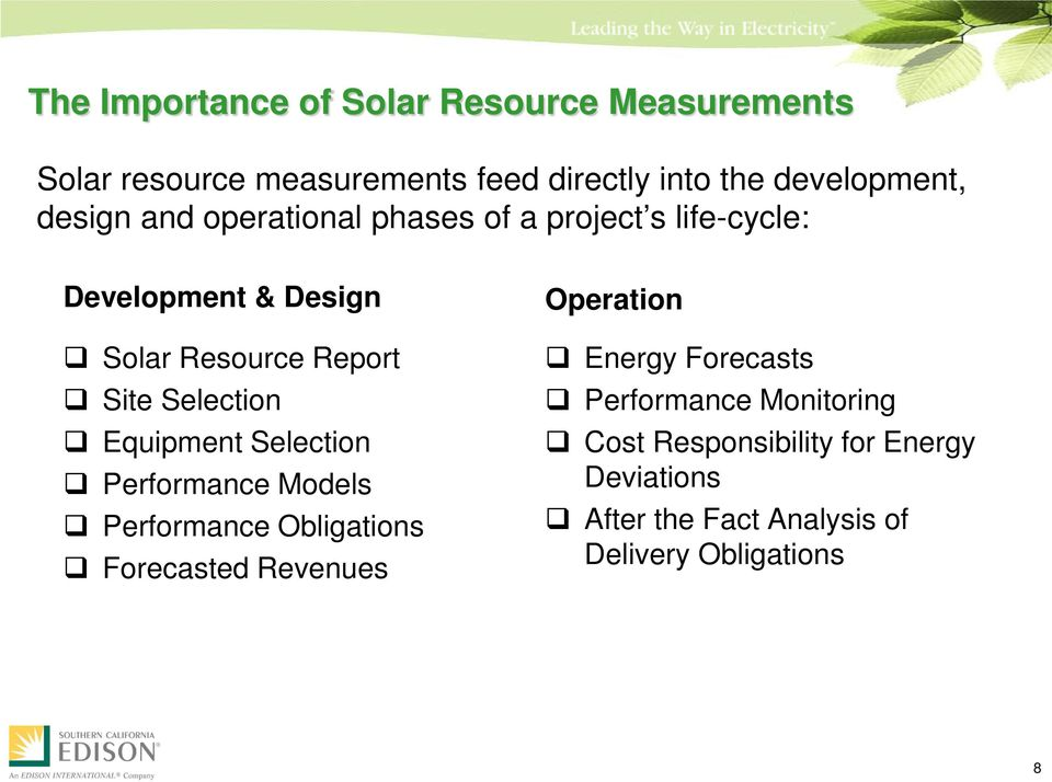 Selection Equipment Selection Performance Models Performance Obligations Forecasted Revenues Operation Energy