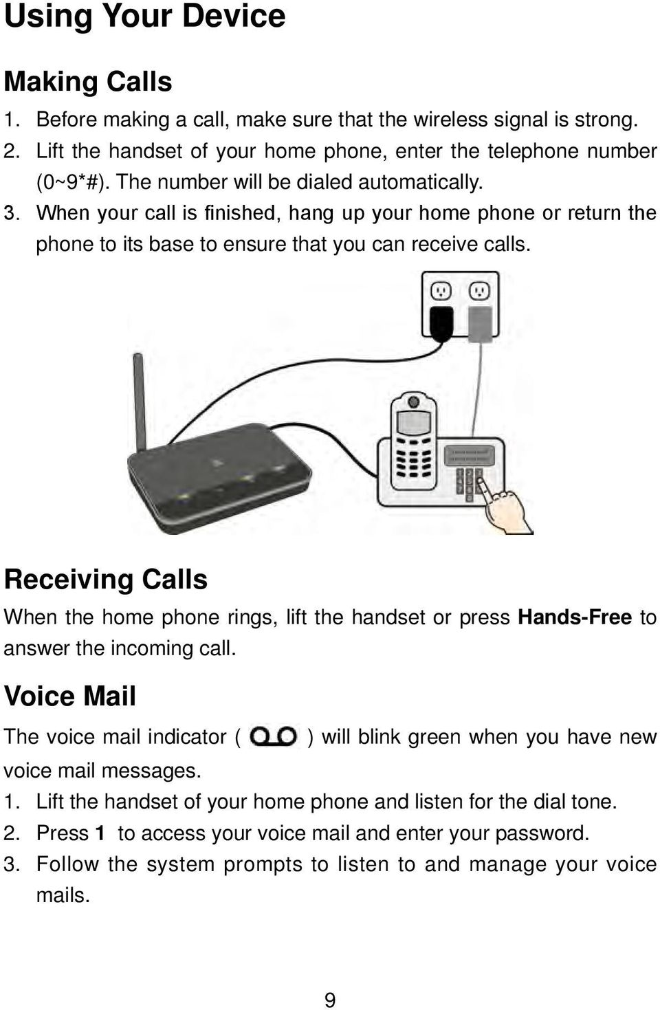 Receiving Calls When the home phone rings, lift the handset or press Hands-Free to answer the incoming call.