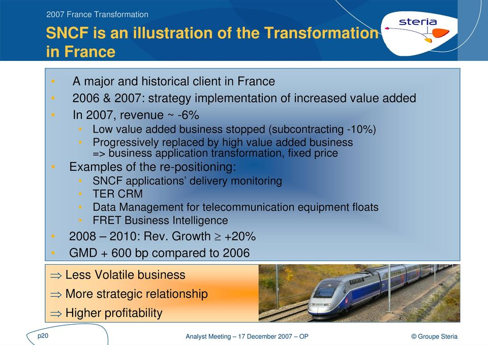 application transformation, fixed price Examples of the re-positioning: SNCF applications delivery monitoring TER CRM Data Management for telecommunication