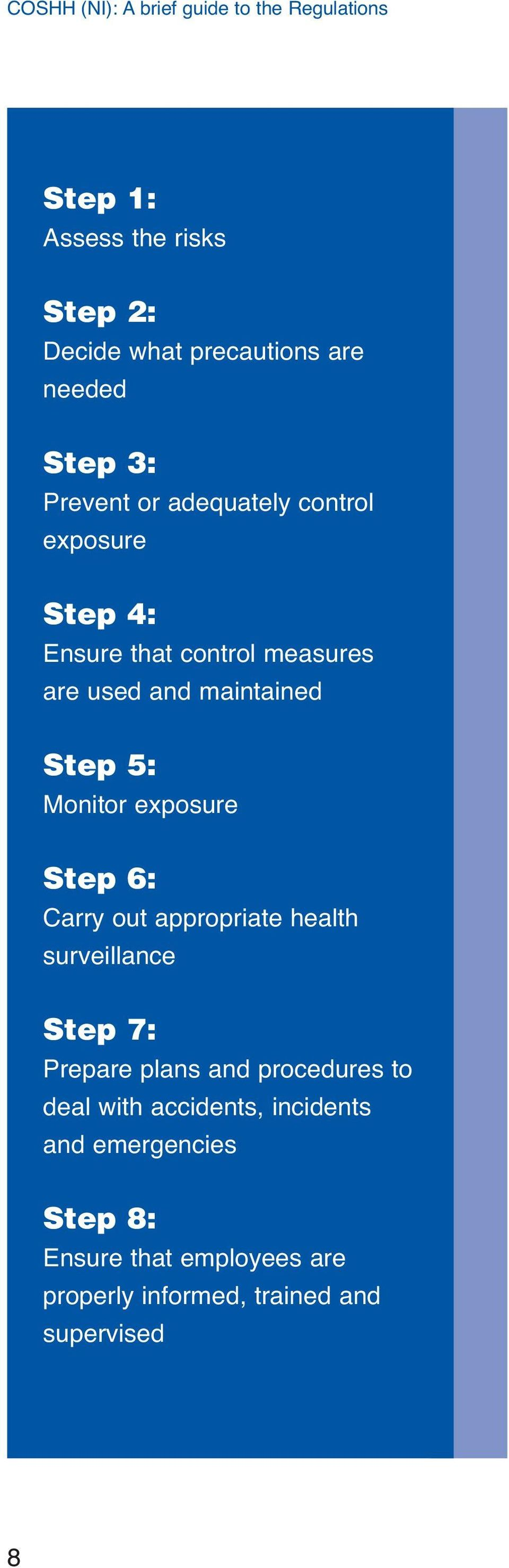 Step 6: Carry out appropriate health surveillance Step 7: Prepare plans and procedures to deal with