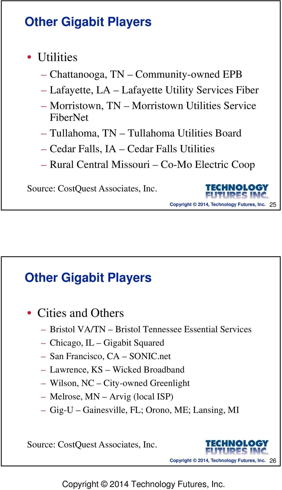 25 Other Gigabit Players Cities and Others Bristol VA/TN Bi Bristol ltennessee Essential ilservices Chicago, IL Gigabit Squared San Francisco, CA SONIC.