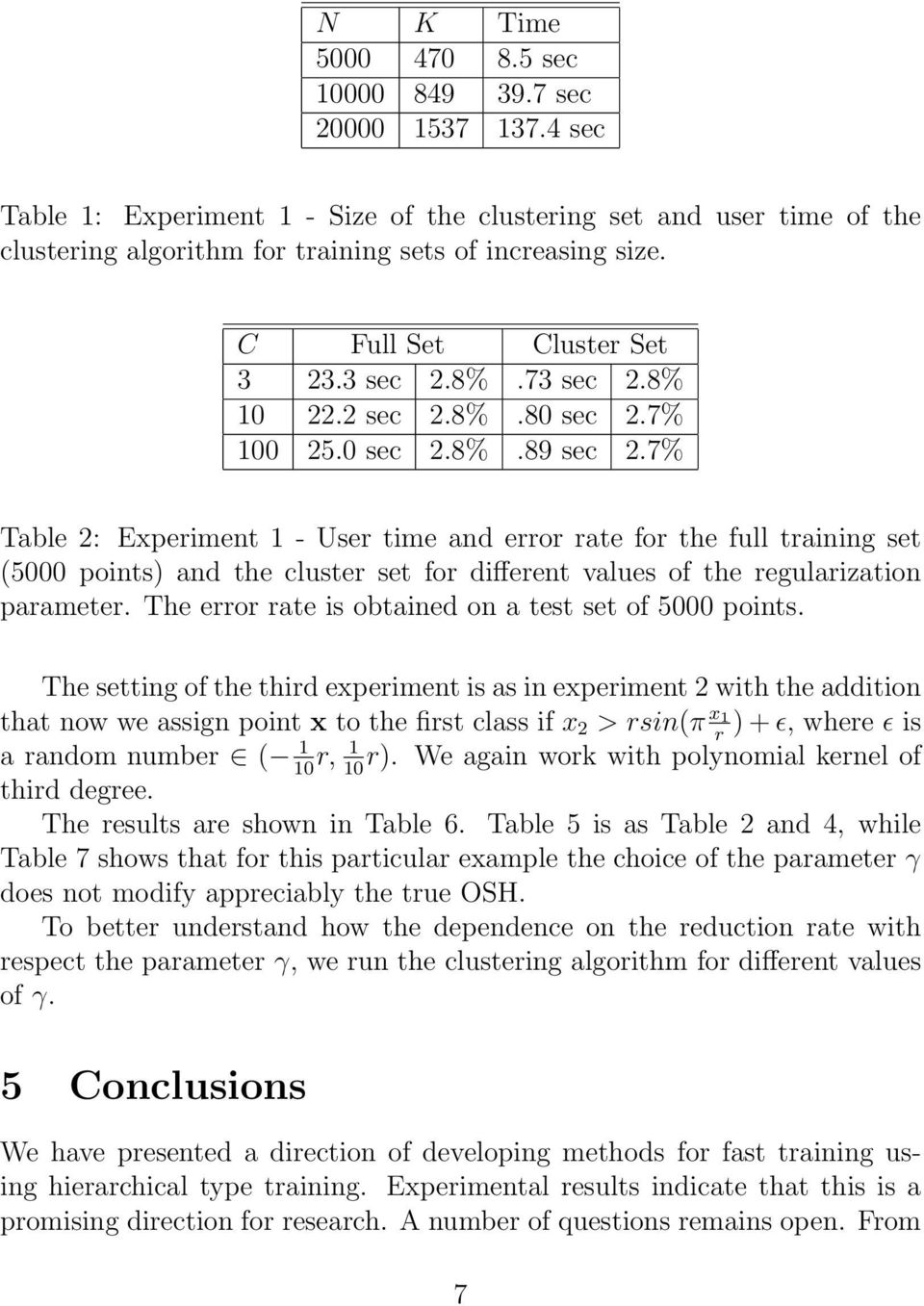 7% Table 2: Experiment 1 - User time and error rate for the full training set (5000 points) and the cluster set for different values of the regularization parameter.