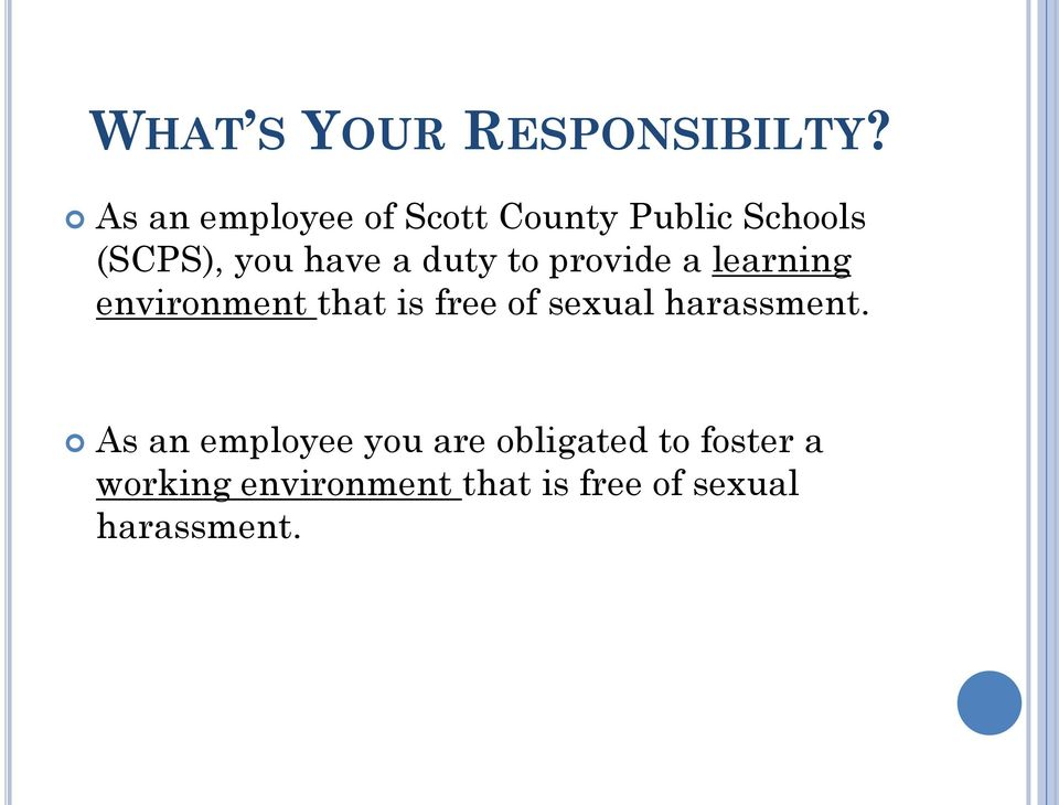 duty to provide a learning environment that is free of sexual