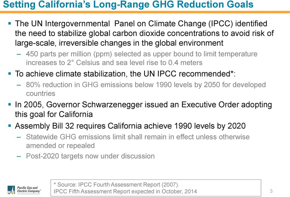 4 meters To achieve climate stabilization, the UN IPCC recommended*: 80% reduction in GHG emissions below 1990 levels by 2050 for developed countries In 2005, Governor Schwarzenegger issued an
