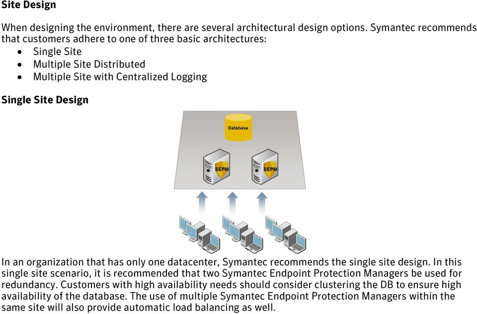 organization that has only one datacenter, Symantec recommends the single site design.