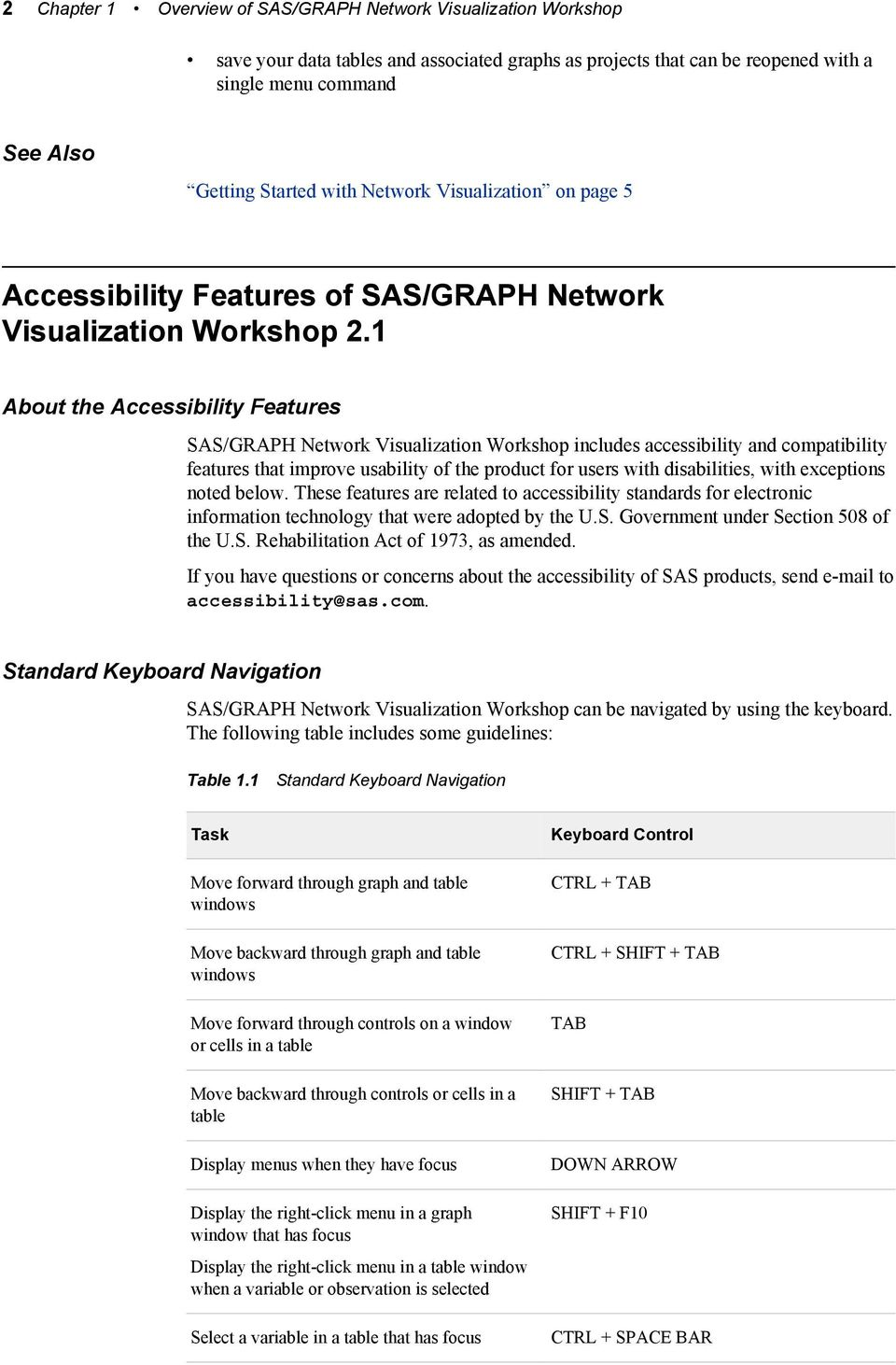 1 About the Accessibility Features SAS/GRAPH Network Visualization Workshop includes accessibility and compatibility features that improve usability of the product for users with disabilities, with