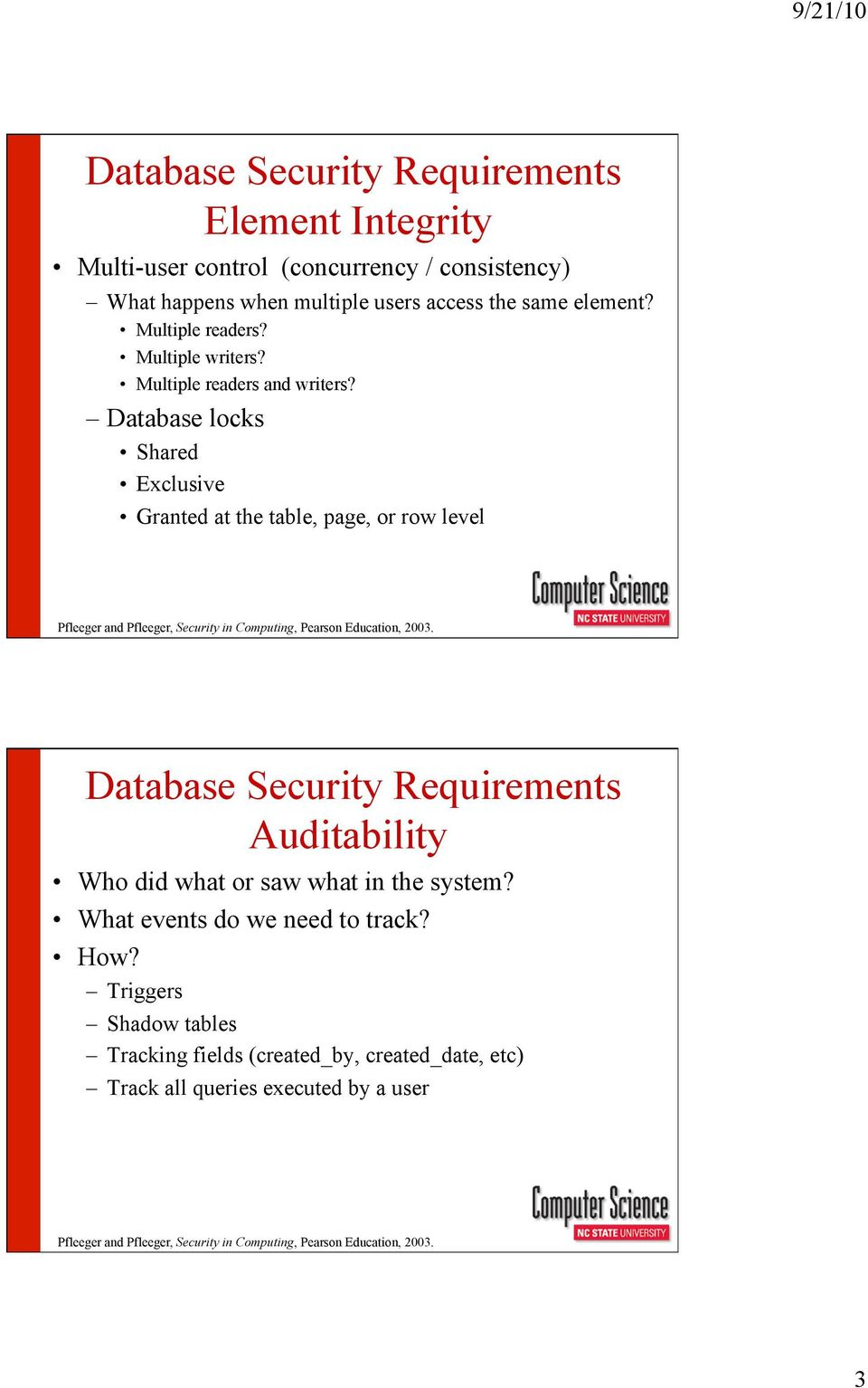 Database Security Requirements Pdf And Integrity Locks Shared Exclusive Granted At The Table Page Or Row Level Auditability Who