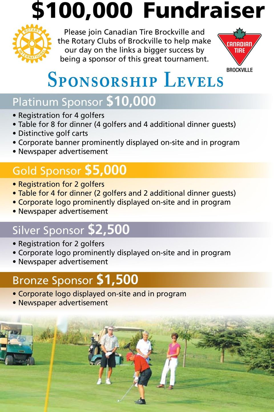 displayed on-site and in program Gold Sponsor $5,000 Registration for 2 golfers Table for 4 for dinner (2 golfers and 2 additional dinner guests) Corporate logo prominently displayed on-site