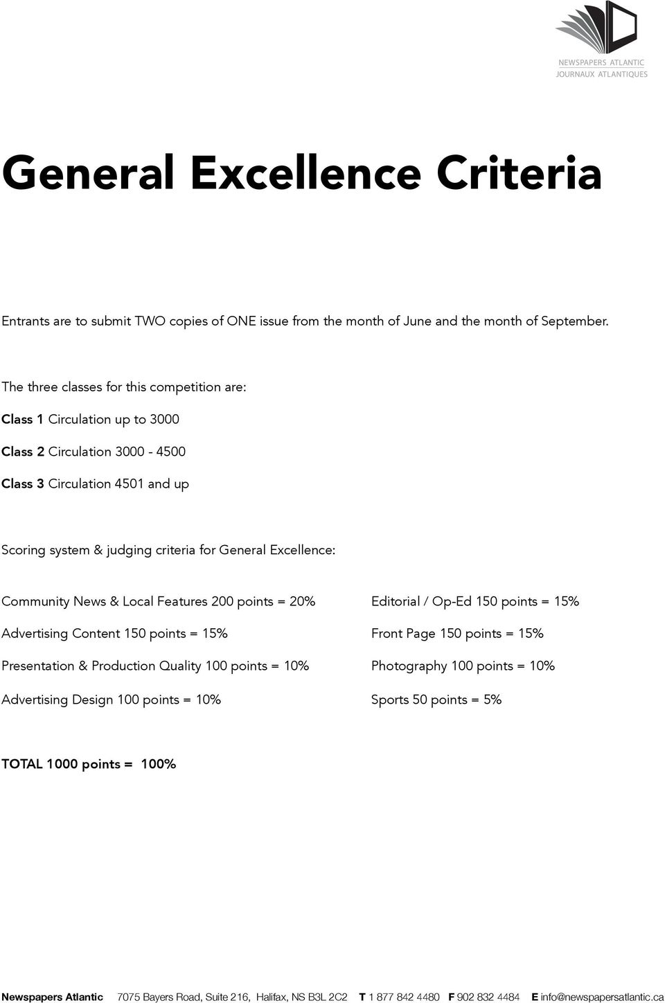 judging criteria for General Excellence: Community News & Local Features 200 points = 20% Editorial / Op-Ed 150 points = 15% Advertising Content 150 points =