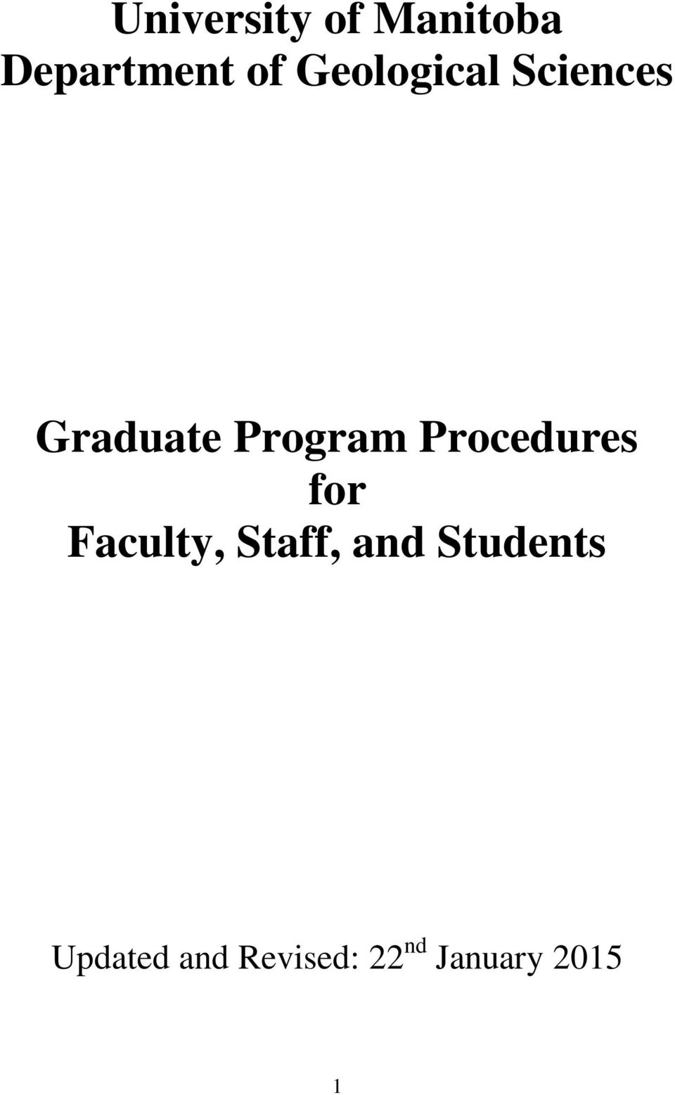 Procedures for Faculty, Staff, and