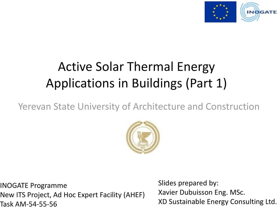 ITS Project, Ad Hoc Expert Facility (AHEF) Task AM-54-55-56 Slides