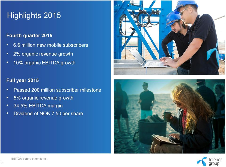 growth Full year 2015 Passed 200 million subscriber milestone 5% organic revenue