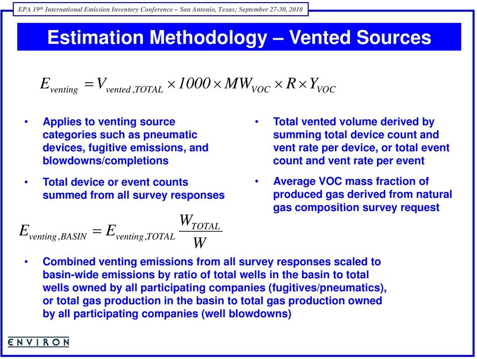 venting, BASIN = venting, TOTAL W W TOTAL Average VOC mass fraction of produced gas derived from natural gas composition survey request Combined venting emissions i from all survey responses scaled