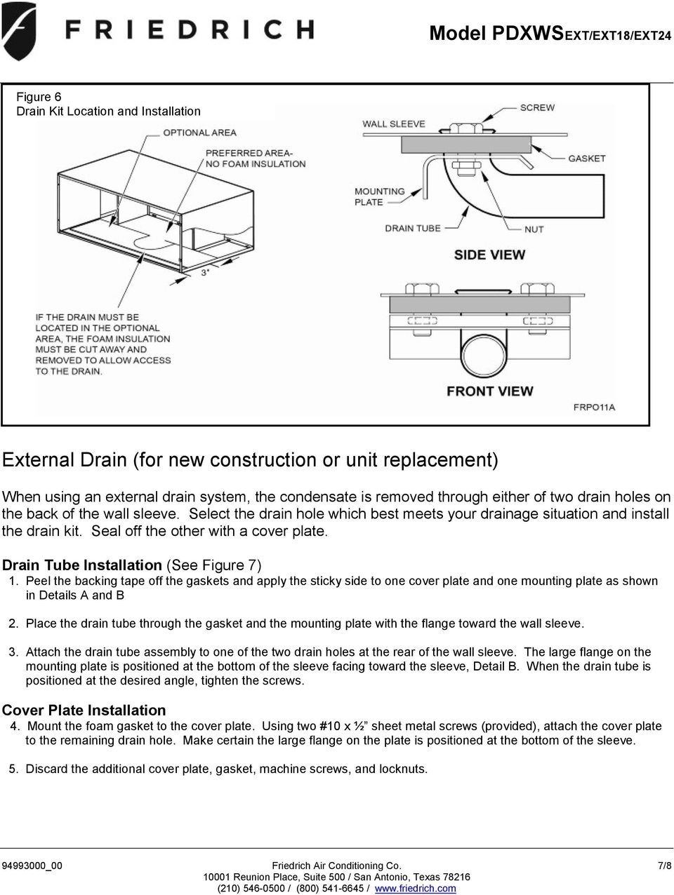 Drain Tube Installation (See Figure 7) 1. Peel the backing tape off the gaskets and apply the sticky side to one cover plate and one mounting plate as shown in Details A and B 2.