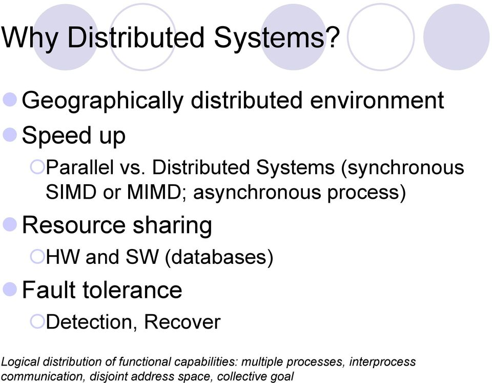 and SW (databases) Fault tolerance Detection, Recover Logical distribution of functional