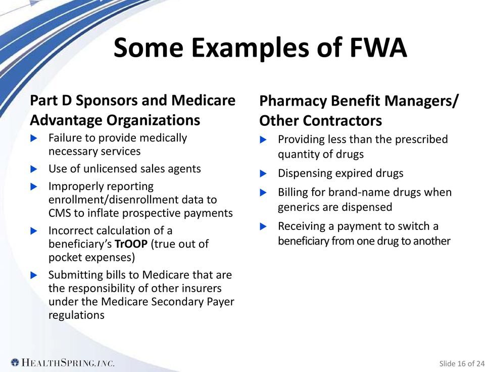 that are the responsibility of other insurers under the Medicare Secondary Payer regulations Pharmacy Benefit Managers/ Other Contractors Providing less than the prescribed