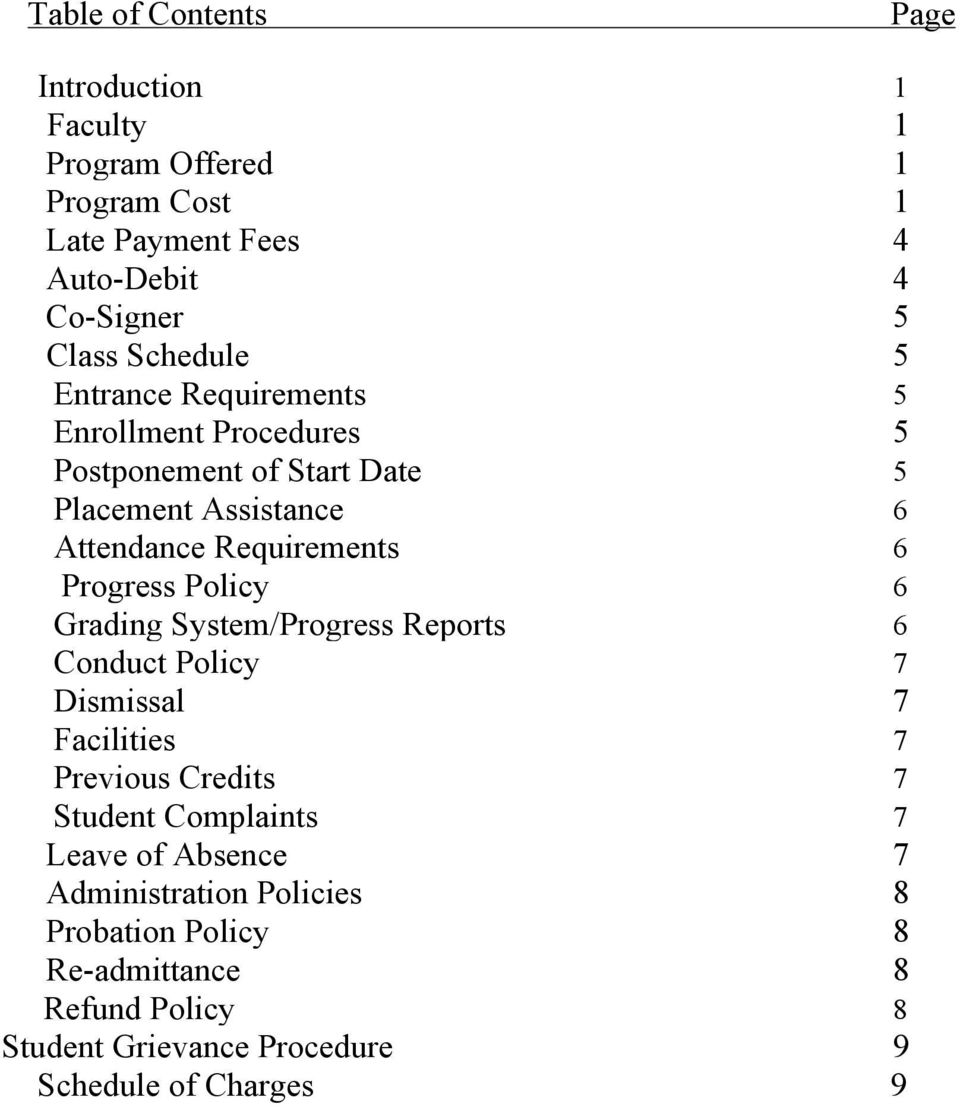 Progress Policy 6 Grading System/Progress Reports 6 Conduct Policy 7 Dismissal 7 Facilities 7 Previous Credits 7 Student Complaints 7