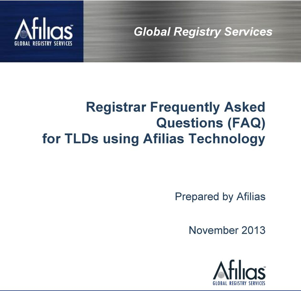 Questions (FAQ) for TLDs using