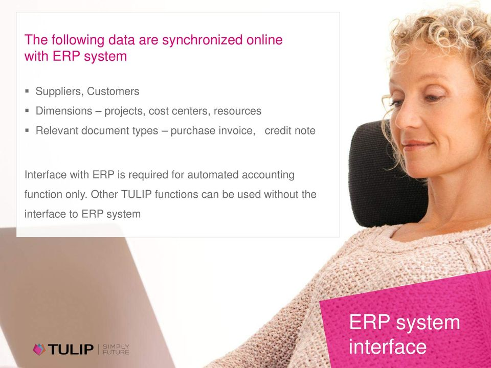 invoice, credit note Interface with ERP is required for automated accounting