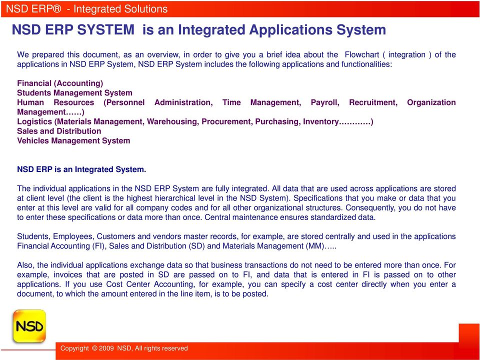(Materials, Warehousing, Procurement, Purchasing, Inventory ) Sales and Distribution Vehicles System NSD ERP is an Integrated System.
