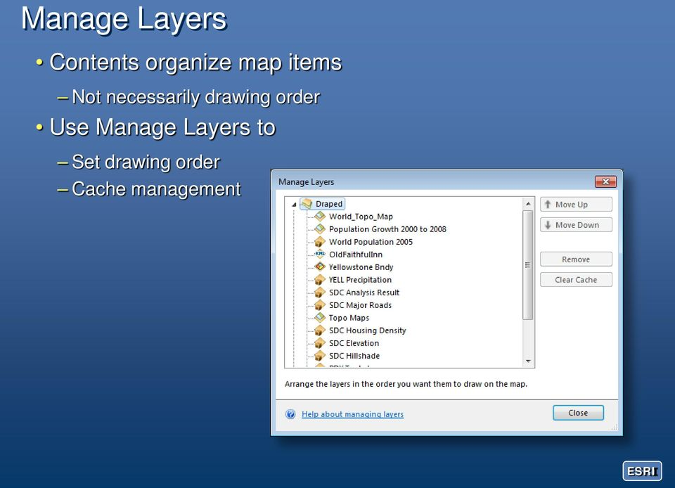 drawing order Use Manage Layers