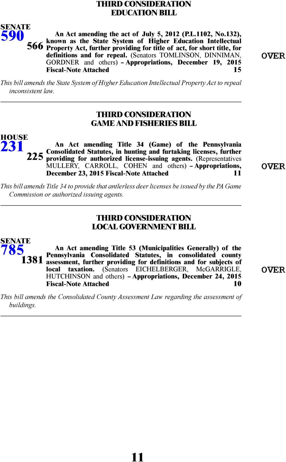 (Senators TOMLINSON, DINNIMAN, GORDNER and others) -- Appropriations, December 19, 2015 Fiscal-Note Attached 15 This bill amends the State System of Higher Education Intellectual Property Act to