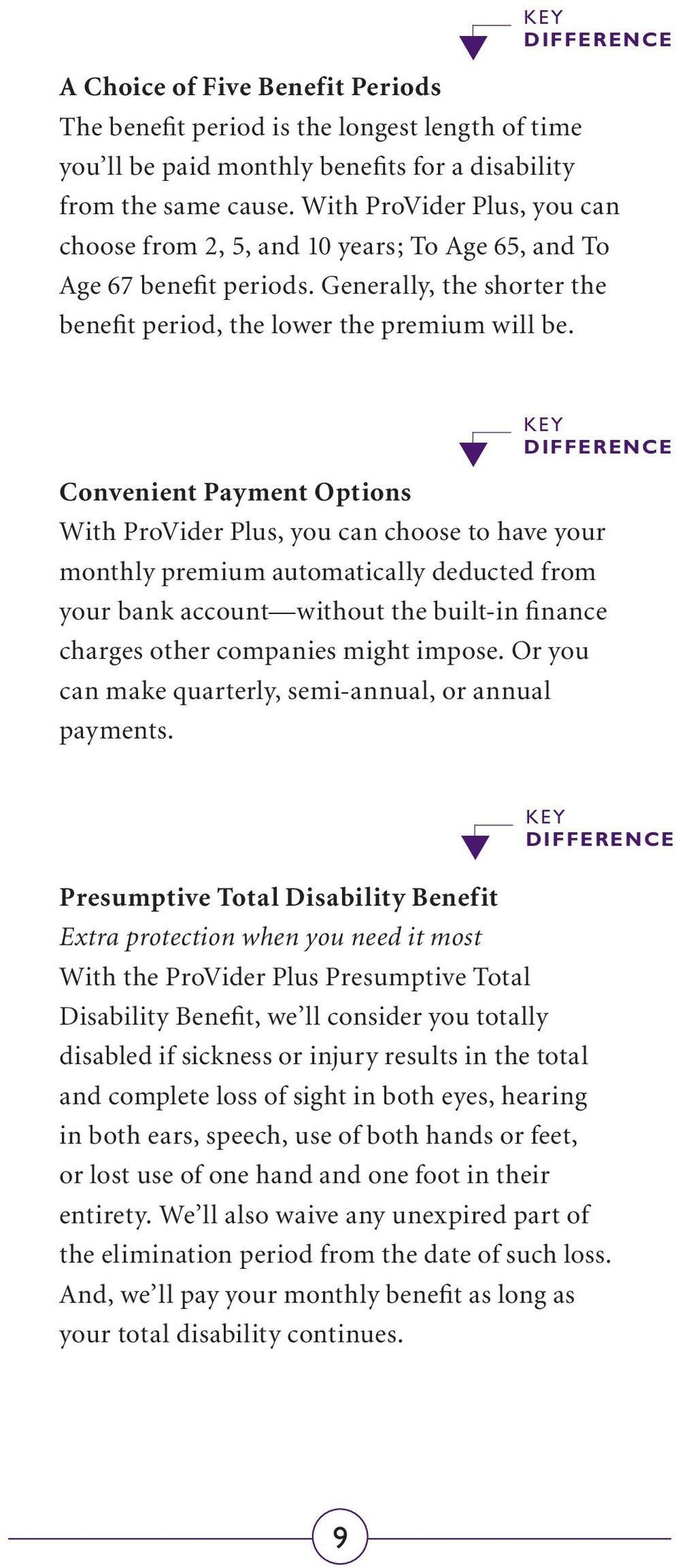 Key Difference Convenient Payment Options With ProVider Plus, you can choose to have your monthly premium automatically deducted from your bank account without the built-in finance charges other