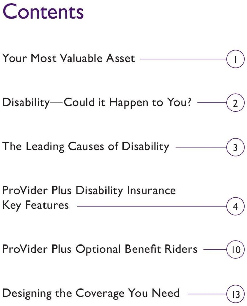 2 The Leading Causes of Disability 3 ProVider Plus