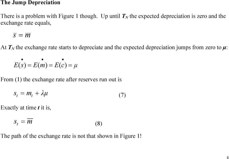 sars o depreciae and he expeced depreciaion jumps from zero o µ: E ( s) = E( m) = E( c) = µ From