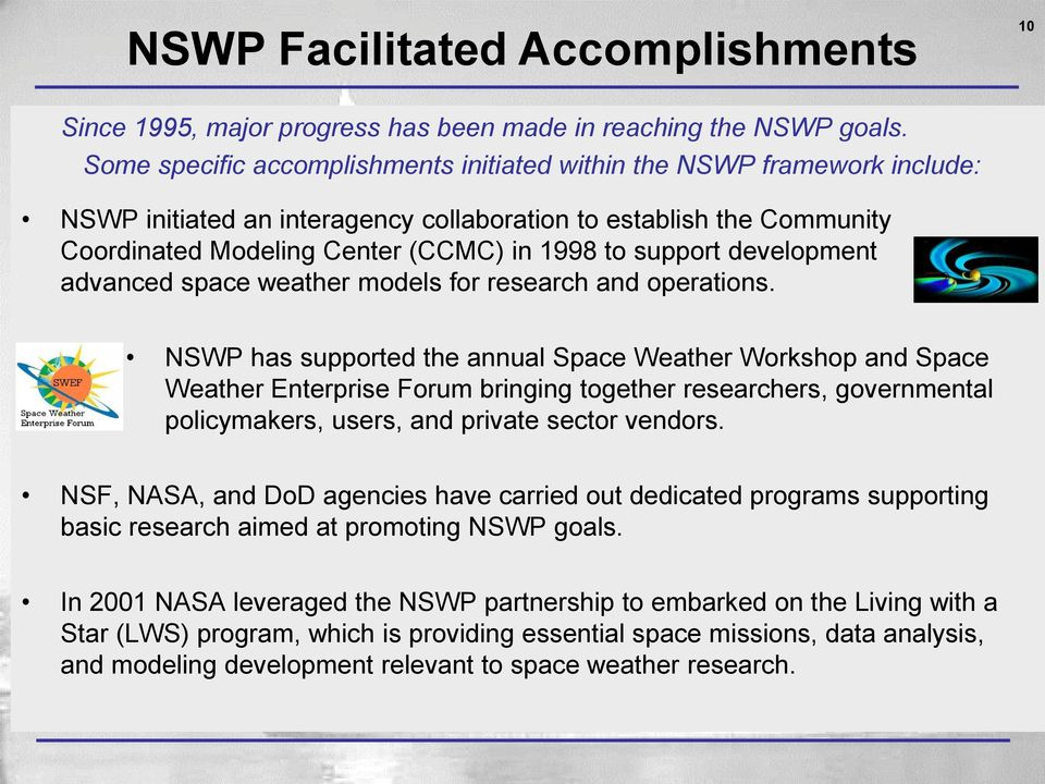 development advanced space weather models for research and operations.