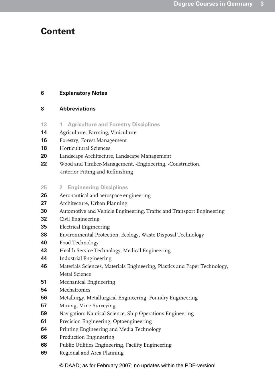 aerospace engineering 27 Architecture, Urban Planning 30 Automotive and Vehicle Engineering, Traffic and Transport Engineering 32 Civil Engineering 35 Electrical Engineering 38 Environmental