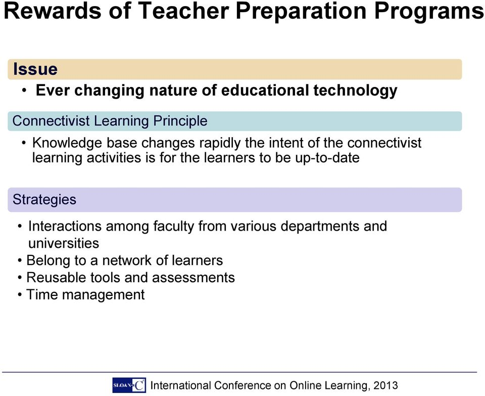 learning activities is for the learners to be up-to-date Strategies Interactions among faculty from