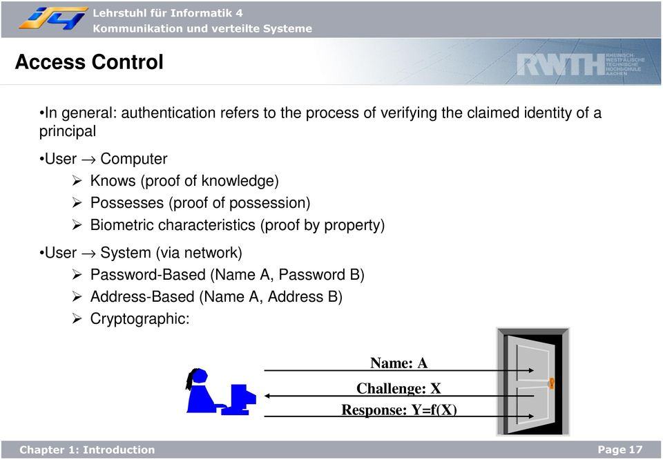 possession) Biometric characteristics (proof by property) User System (via network) Password-Based